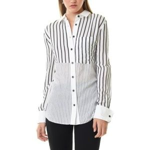 Alberto Makali Striped Mixed Media Shirt